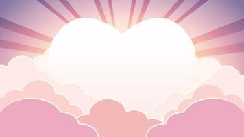 Céu colorido de dia dos namorados no fundo de tempo de manhã com nuvens e sol coração com raios vetor