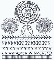 Mão desenhada vector elementos tribais, branco de estilo Boho