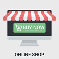 Loja online em um design plano vetor