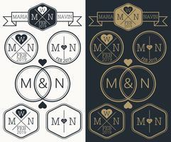 Monograma do logotipo do casamento vetor
