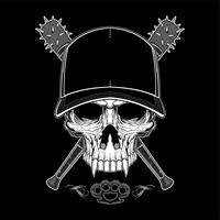 Crânio de bandido vintage no hipster cap e esqueleto mãos segurando ilustração em vetor de bastões de beisebol cruzados