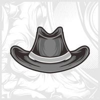 vetor de desenho de mão de chapéu de cowboy
