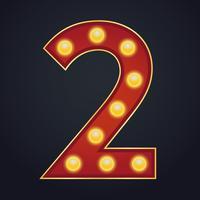 Carta número dois alfabeto sinal letreiro vintage lâmpada vetor