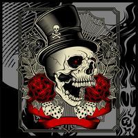 crânio usando chapéu e dados rosa decoração -vector