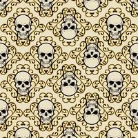 crânio padrão com ornamento vetor