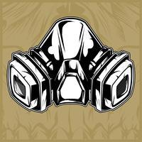 desenho de mão de máscara de gás vector
