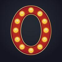 Número de letra zero alfabeto sinal letreiro vintage lâmpada vetor