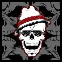 Crânio de gângster usando vetor de desenho de mão de chapéu fedora