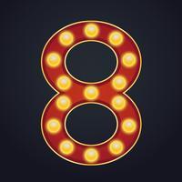 Número de letra oito alfabeto sinal letreiro vintage lâmpada vetor