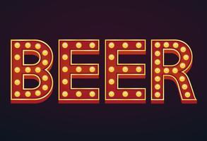 Cerveja bandeira alfabeto sinal letreiro vintage lâmpada vetor