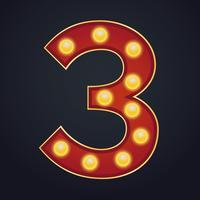 Carta número três alfabeto sinal letreiro vintage lâmpada vetor