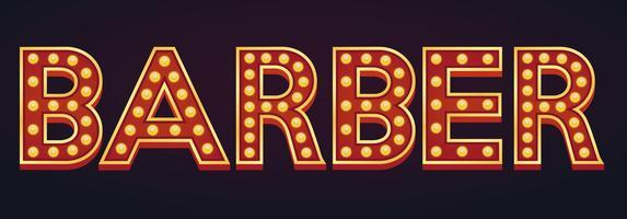 Barbeiro bandeira alfabeto sinal letreiro vintage lâmpada vetor