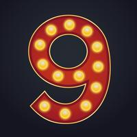 Número de letra nove alfabeto sinal letreiro vintage lâmpada vetor