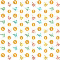 Carrinho de compras sem emenda de vetor com padrão de estilo de moedas de ouro