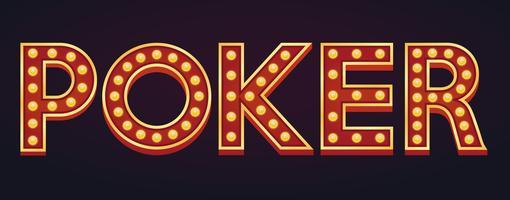 Pôquer bandeira alfabeto sinal letreiro vintage lâmpada vetor