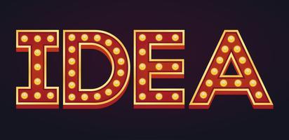 Bandeira de IDEA alfabeto sinal letreiro vintage lâmpada vetor