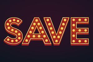 Salvar banner alfabeto letreiro vintage vetor