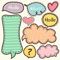 Palavras de desenhos animados rótulo doodle fofo vetor