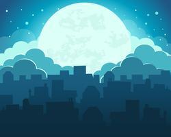 Colorido do céu da noite da lua com fundo da cidade da meia-noite