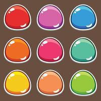 Botão de desenho animado definir jogo, elemento GUI para jogo móvel vetor