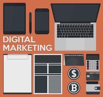 Conceito de marketing digital em um design plano vetor