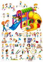 Conjunto de crianças e atividades diferentes vetor