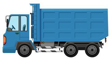 Um caminhão de lixo no fundo branco vetor