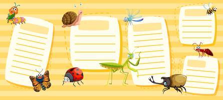 Conjunto de notas de insetos amarelos vetor