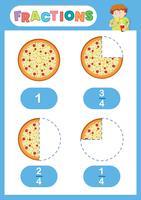 Cartaz de edificação de pizza de frações