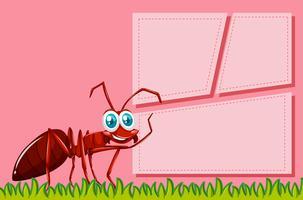 Cena de quadro de formiga vermelha vetor