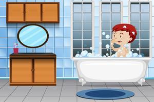 Um, menino, levando, banho vetor