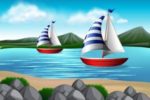 Barcos à vela no mar vetor