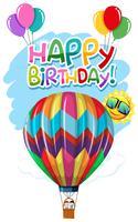 Cartão de aniversário do balão de ar quente vetor