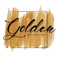 Quadro dourado do curso da escova, mancha da pintura da textura do ouro, ilustração do vetor.