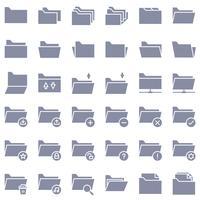 Arquivo e pasta icon set vector, estilo sólido vetor