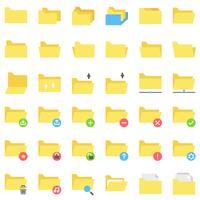 Arquivo e pasta icon set vector, estilo simples vetor