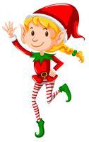 Um, menina natal, elf, branco, fundo vetor