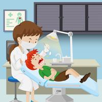 Um menino na clínica odontológica vetor