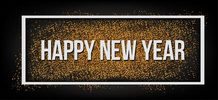 Feliz Ano Novo. Brilho dourado. vetor