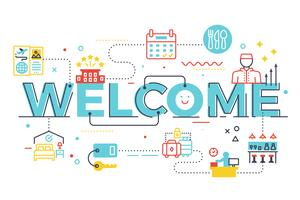 Bem-vindo, palavra, lettering, ilustração vetor