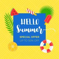 Banner de venda de verão com objeto relacionado de verão