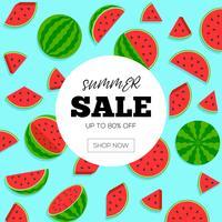Venda de verão com ilustração em vetor fundo melancia