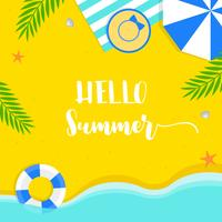 Horário de verão, ilustração em vetor verão praia fundo