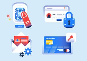 Cyber Security Icon Set Ilustração Vetor