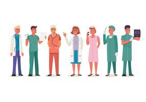 Conjunto de trabalhadores médicos masculinos e femininos vetor