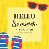 Banner de venda de verão com óculos de sol e sandálias vetor