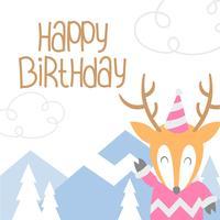 Saudação de desenhos animados de veado animal feliz aniversário