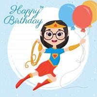 Cartão de feliz aniversário de super-herói de vetor