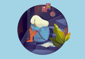 Garota deprimindo Mental Health Vector Illustration