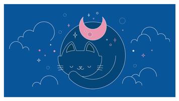 Vetor de noite de gatos